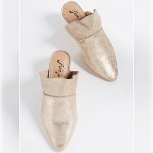 Free People Sienna Ruffle Slide Mules Gold Sz 37.5